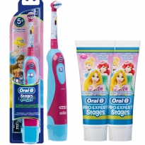 Oral-B Stages Power cls (Batterie), Motiv Princess Set mit 2x Zahnpasta (2x75 ml)