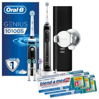 Oral-B Sparpack Genius  10100S Black + 3x Oral-B Zahnpasta, 75ml (3x75 ml)